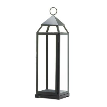 Iron Extra Tall Black Contemporary 25 Inch Candle Holder Lantern
