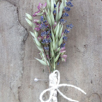 Handmade Wedding Boutonnieres Corsages - Oregano Boutonnieres, Oats Boutonnieres, Lavender Boutonnieres, Linen Fiber Ribbon, Twine, Rustic