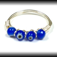 Stackable ring, beaded ring, wire ring, wrapped wire ring,blue ring,silver ring, fashion ring, thumb ring,