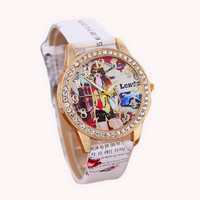 Womens Girl Print Leather Strap Wrist Watch Casual Sports Diamond Watches Best Christmas Gift