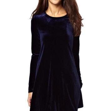 Long Sleeve Velvet Mini Skater Dress