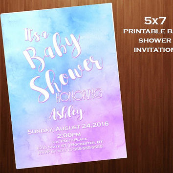 watercolor Baby Shower Invitations, purple and blue baby shower, Printable digital,  Baby Shower Invitations, 5x7 baby shower invitation