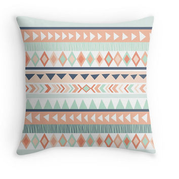 Mint & Coral Tribal Pillow Cover, Earthy Decor, Arrow, Ethnic, Available in sizes 16x16, 18x18, 20x20,