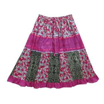 Mogul Womens Pink Cotton Skirt Floral Print Summer Comfy Skirts - Walmart.com