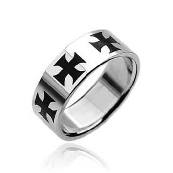 Black Celtic Crosses 316L Stainless Steel Ring