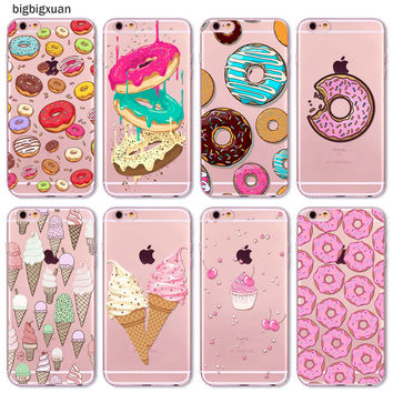 Rainbow Color Food Hamburger Donuts Macaron Pattern Phone Cases For iphone 6 6S 5 5S SE 5C 6Plus 6SPlus 4 4S Silicone Covers
