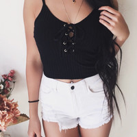 Kylie Lace Up Ribbed Tank (BLACK)