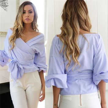 HOT SALE Women's Off Shoulder Long Sleeve Casual Tops Blouse