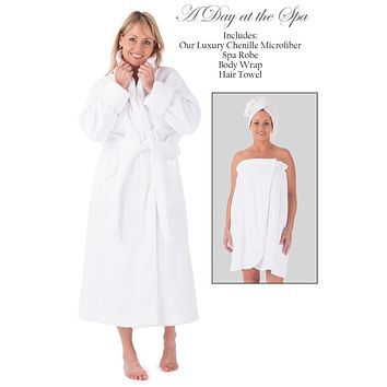 Women's Five Star Spa Package - Terry Cloth Robe, Body Wrap and Hair Towel
