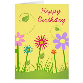 Pretty Colorful Flowers Birthday Greeting Card