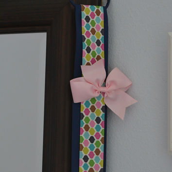 Hair Bow Holder Organizer - Navy Blue and Colored Pattern
