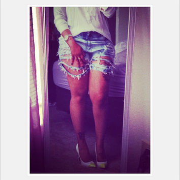 Blue Jean  ripped high waisted shorts fringe distressed.