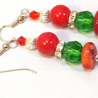 Red Green Round Earrings – Christmas