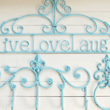 Home Decor Sign 3 Piece Set / Live Love Laugh Sign / Wall Hook 5 Hook / Towel Holder / Outdoor Decor / Wall Decoration / Decor & Housewares