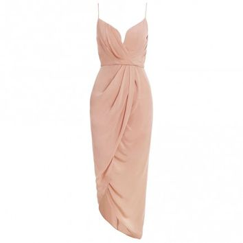 Silk Plunge Drape Dress - Clothing - Ready To Wear