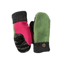 Green and Pink Mittens - Women's Handmade Wool Angora Lambswool Recycled Black Sweaty Mitts with Metallic cuffs