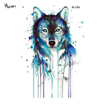 WYUEN Wolf Temporary Watercolor Tattoo Sticker Waterproof Women Fashion Fake Body Art Arm Tattoos 9.8X6cm Kids Hand Tatoo A-134