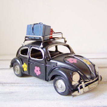 Exceptional Hippie Bug Car Miniauture, Vintage, Blue, VW Beetle Car Miniature With Pink  Yellow