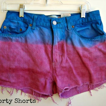 High Waisted Denim Shorts Dip Dyed Purple Blue Shorts Size 8-9