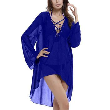 DCCKFV3 Sexy Beach Cover Up Sumemr Long Tassel Beach Cardigan Swim suit Printed Bathing Suit Cover Ups Pareo Beach Tunic Cover-Ups