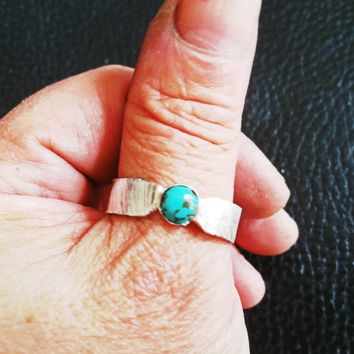 Men or Women's Ring - Turquoise Sterling Silver Ring - Artisan made in the USA - Ring Size 12