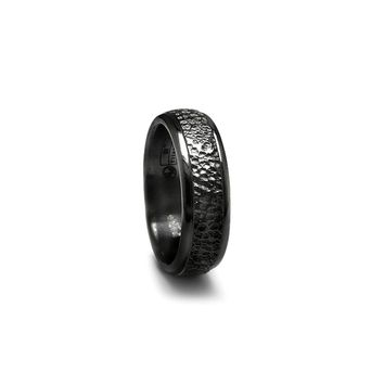 Black Titanium Band Ring with Hammered Center