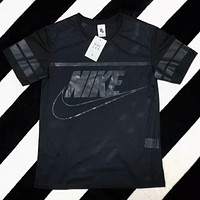 Nike Popular Women Casual Print Mesh Short Sleeve T-Shirt Top Blouse Black I-XMCP-YC