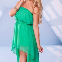 KELLY GREEN STRAPLESS SHEER CHIFFON HIGH LOW DRESS