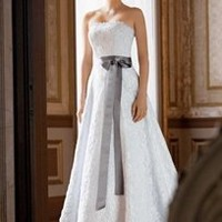 Allover beaded corded lace A-line gown. - David's Bridal
