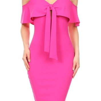 Cold Shoulder Ruffle Bodycon Dress