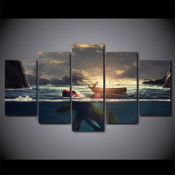 5 Panel Fishing Boat at Sunset. Underwater Fish Wall Art Canvas Panel Print Fram