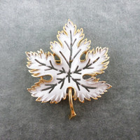 Maple Leaf Pin Brooch Crown Trifari Snow Covered Maple Leaf Brooch Scarf Hat Coat Pin Vintage Jewelry