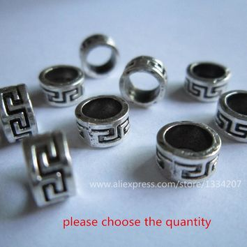 10pcs-30pcs Tibetan silver hair braid dread dreadlock bead clip cuff approx 5.6mm hole