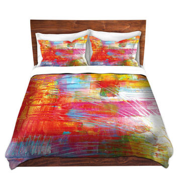 DANCE WITH ME Fine Art Bold Pink Orange Turquoise Abstract Duvet Covers King Queen Twin Colorful Home Decor Bedding Children Adult Bedroom