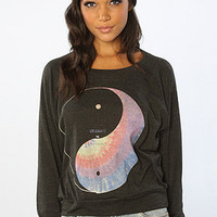 The Ying Yang Spin Dye Longsleeve Top in Black (Exclusive)