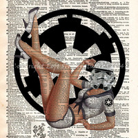 Pinup girl stormtrooper, Star Wars art,  print, dictionary page print
