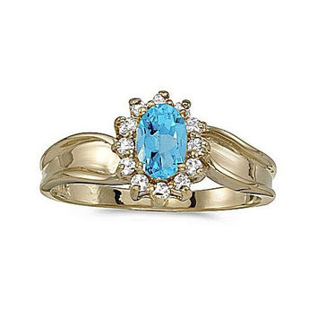 14k Yellow Gold Twist Diamond and Blue Topaz  Ring