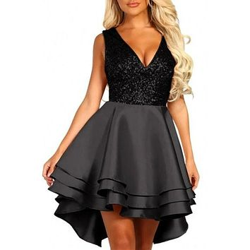 Chic Heart Broken Black Sequin Multi Layer Cocktail Party Skater Dress