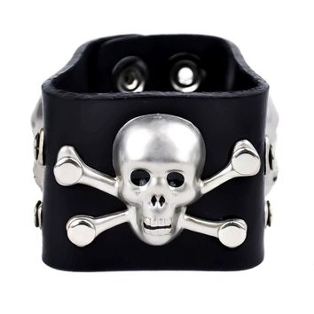 "3 Skull & Crossbones Black Leather Wristband Bracelet Cuff 2"" Wide"