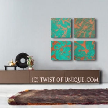 Oxidized Copper Wall Art, - Large 4 square panel ORIGINAL Abstract Painting- Copper, Green, rust, brown, red, metal, orange