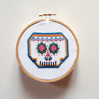 Mexican Skull- Sugar Skull, Cross Stitch embroidery pattern PDF- Instant Download