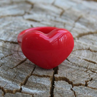 Vintage Red Luctie Heart Ring
