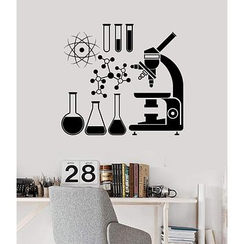 Wall Vinyl Decal Microscope Science Scientist Chemistry School Stickers Unique Gift (ig3079)