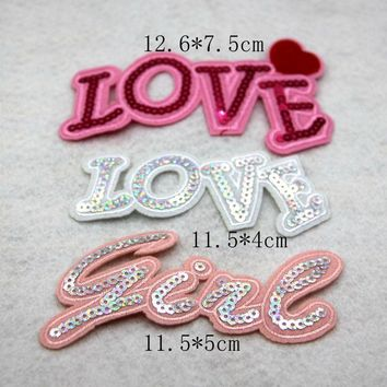 P226 3pcs/set Love girl Letter Sequined Embroidered Patches Iron on Badge Sticker for clothes applique DIY Christmas Deco