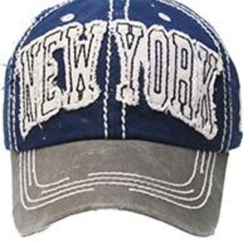 NEW YORK BLUE DISTRESSED AND FADED  HAT CAP Old School Baseball  Unisex Adj One