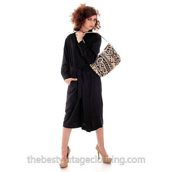 Classic Marimekko Silk Coat Dress Black M