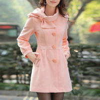 Pink Singlebreasted Winter Coat/Woman coat/ by Eloneeclothing