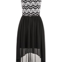 Belted Chiffon Skirt Lace Top Dress - Black