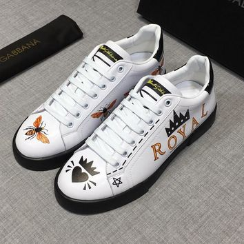Dolce&Gabbana White Print Leather D&G Sneakers - Best Deal Online