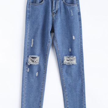 Denim Blue Distressed Ripped Pencil Jeans